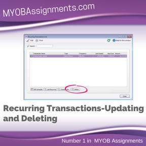 Recurring Transactions-Updating and Deleting Assignment Help